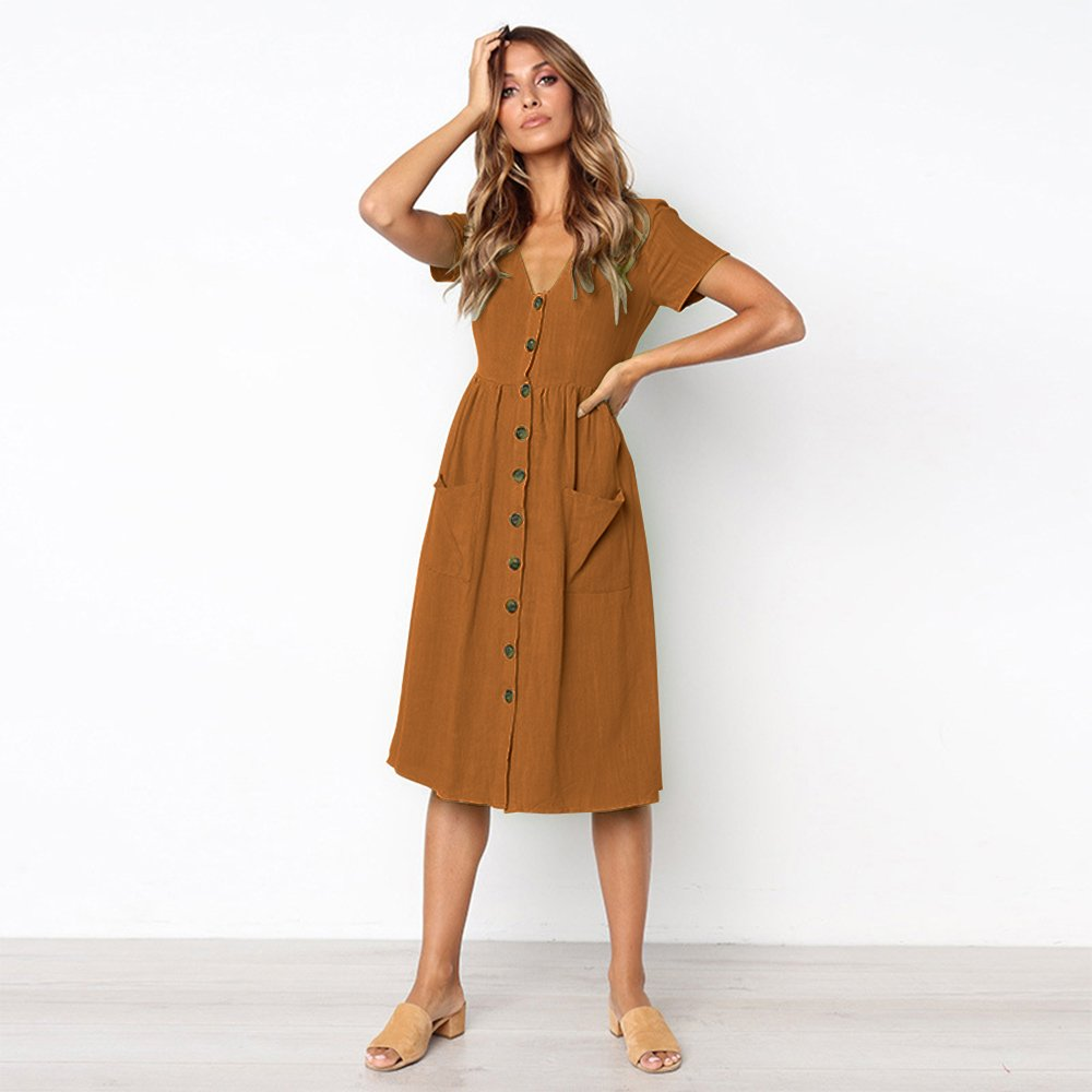 Longwu Vestido a Media Pierna con Cuello en V y Manga Corta Casual con Cuello en V para Mujer y Bolsillos Women Dress: Amazon.es: Ropa y accesorios
