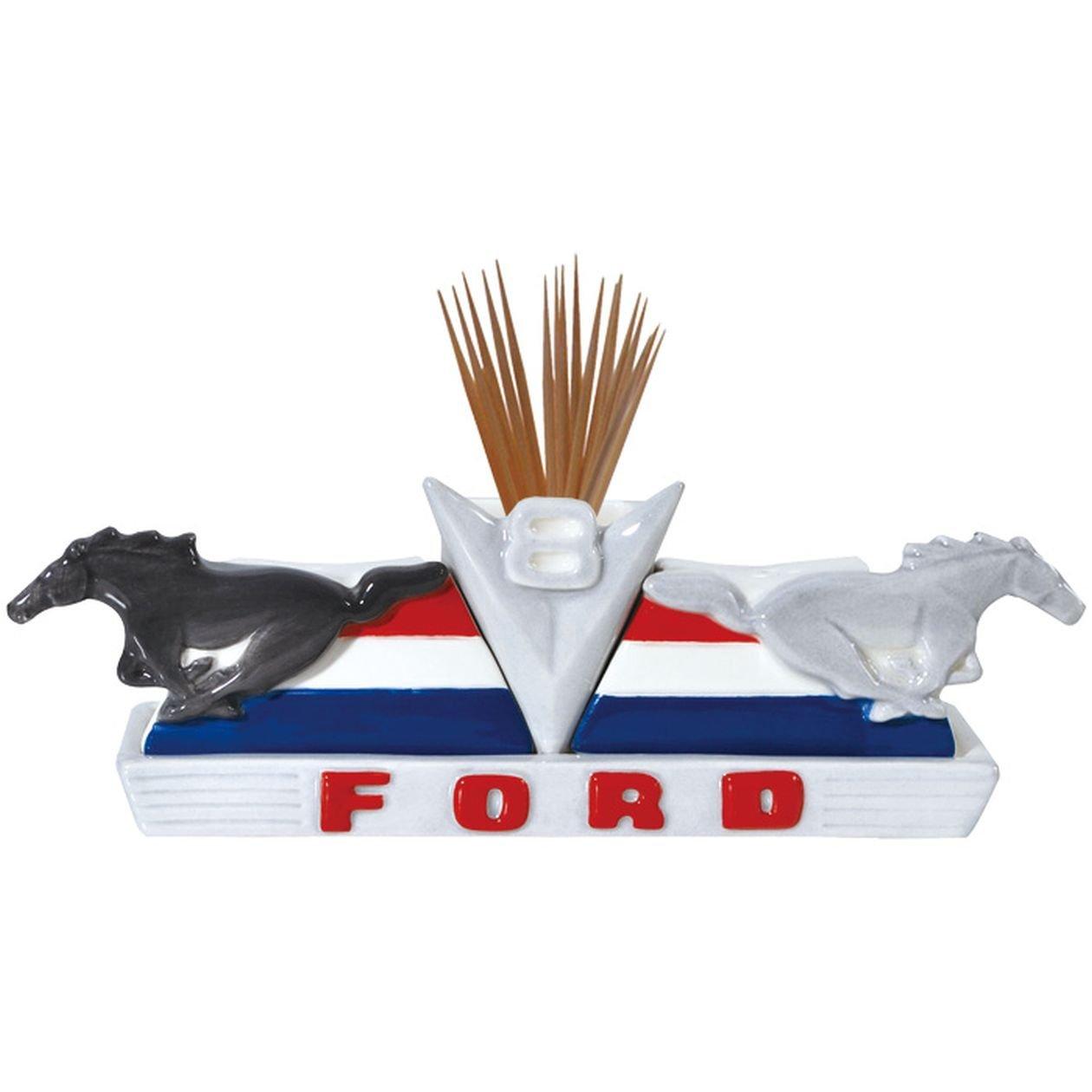 Westland Giftware Magnetic Ceramic Ford V8 Ponies Salt and Pepper Shaker and Toothpick Holder Set, 1.75-Inch SS-WL-25103