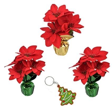6bb5bc293c106 Amazon.com  Artificial Poinsettia Bushes in Foil Pot Set of 3 Great ...