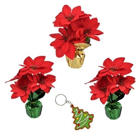 Christmas Flower Decorations.Amazon Com Artificial Poinsettia Bushes In Foil Pot Set Of