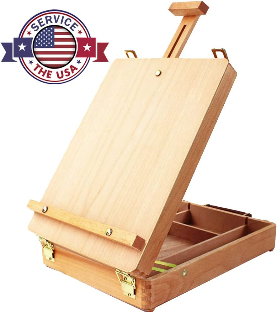 Adjustable Wood Table Sketchbox Easel, Premium Beechwood, Portable Wooden Artist Desktop Storage Case, Comfortable and Portable to Carry