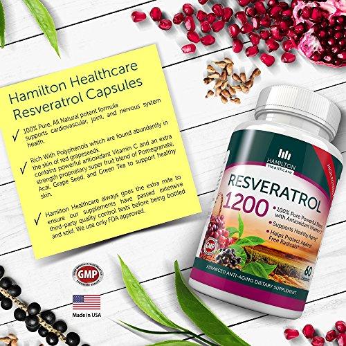 Resveratrol Maximum Strength 1200mg with Green Tea Acai Grape Seed Extract and Antioxidant Vitamin C - 60 Veggie Capsules By Hamilton Healthcare Discount