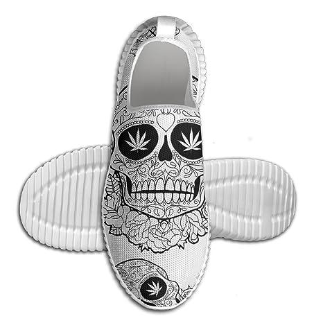 Marijuana Sugar Skull Men Anti-Slip Sneakers Fashion Mesh Tennis Loafers