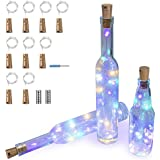 9 Pack Wine Bottle String Lights ITART Cork LED Battery Powered Lights 15 Leds 2.5ft Multicolor Micro Small Silver Wire Shaped Fairy Light for Crafts Table Centerpieces Wedding Parties Christmas Decor