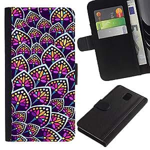 [Neutron-Star] Modelo colorido cuero de la carpeta del tirón del caso cubierta piel Holster Funda protecció Para Samsung Galaxy Note 3 III [Rainbow Floral Colores Purple Pattern]