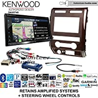 Volunteer Audio Kenwood DNX574S Double Din Radio Install Kit with GPS Navigation Apple CarPlay Android Auto Fits 2009-2010 Ford F-150 (Milano Maple Woodgrain)