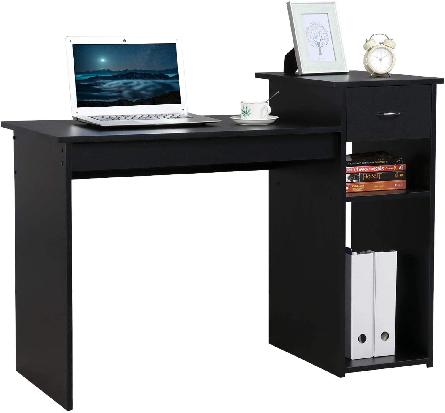Amazon Com Yaheetech Black Computer Desk With Drawer And Storage Shelf For Home Office Wood Pc Study Writing Table Workstation For Small Spaces Furniture Decor