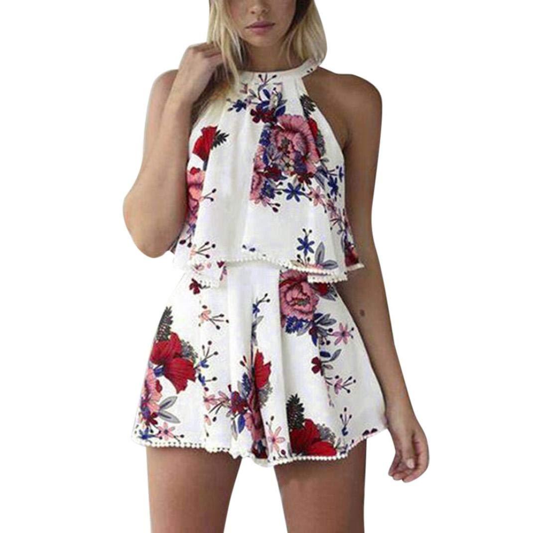 d9b575ac7cd ... Rambling Womens Floral Printed Summer Dress Romper Boho Playsuit  Jumpsuits Beach 2 Piece Outfits Top Shorts ...