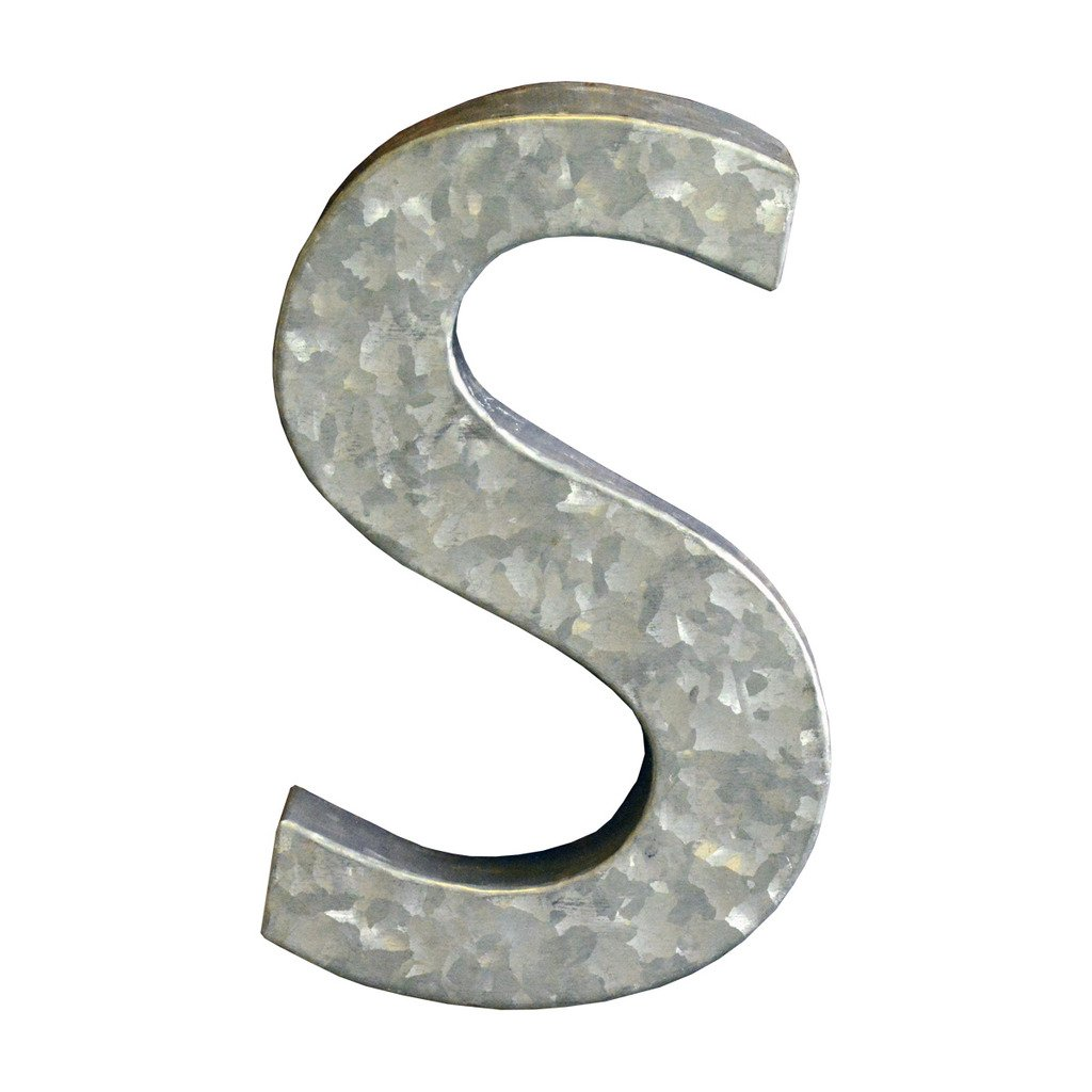 Modelli Creations Alphabet Letter S Wall Decor, Zinc