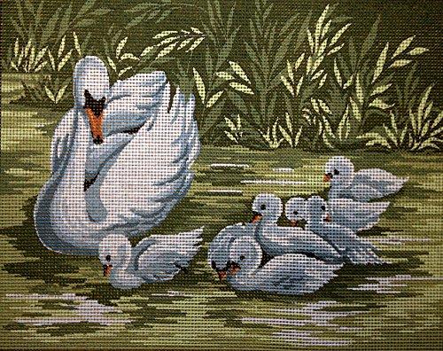 (Hudemas Needlepoint Kit Swans Family 7.9
