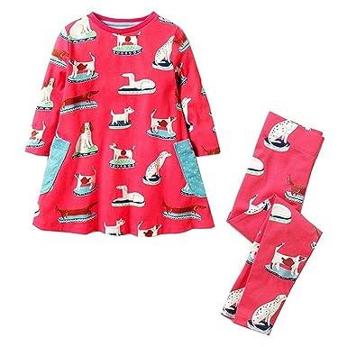 8d1a1872c0da1 Little Girls Dress Set Long Sleeve Animal Cotton Kids Mermaid Dress with  Leggings (2T,