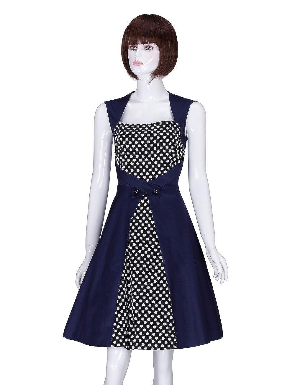 b298aa152c68 Top1: Aurora Adamaris Women\'s Vintage Classical Slim Polka Dots Sleeveless  Casual Swing Dress