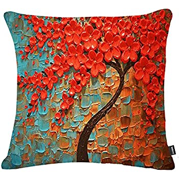 Jinbeile Oil Painting 18x18 Inch Cotton Linen Throw Pillow Cover Decorative Cushion Case Home Pillowcase With 3D Red Flower and Tree