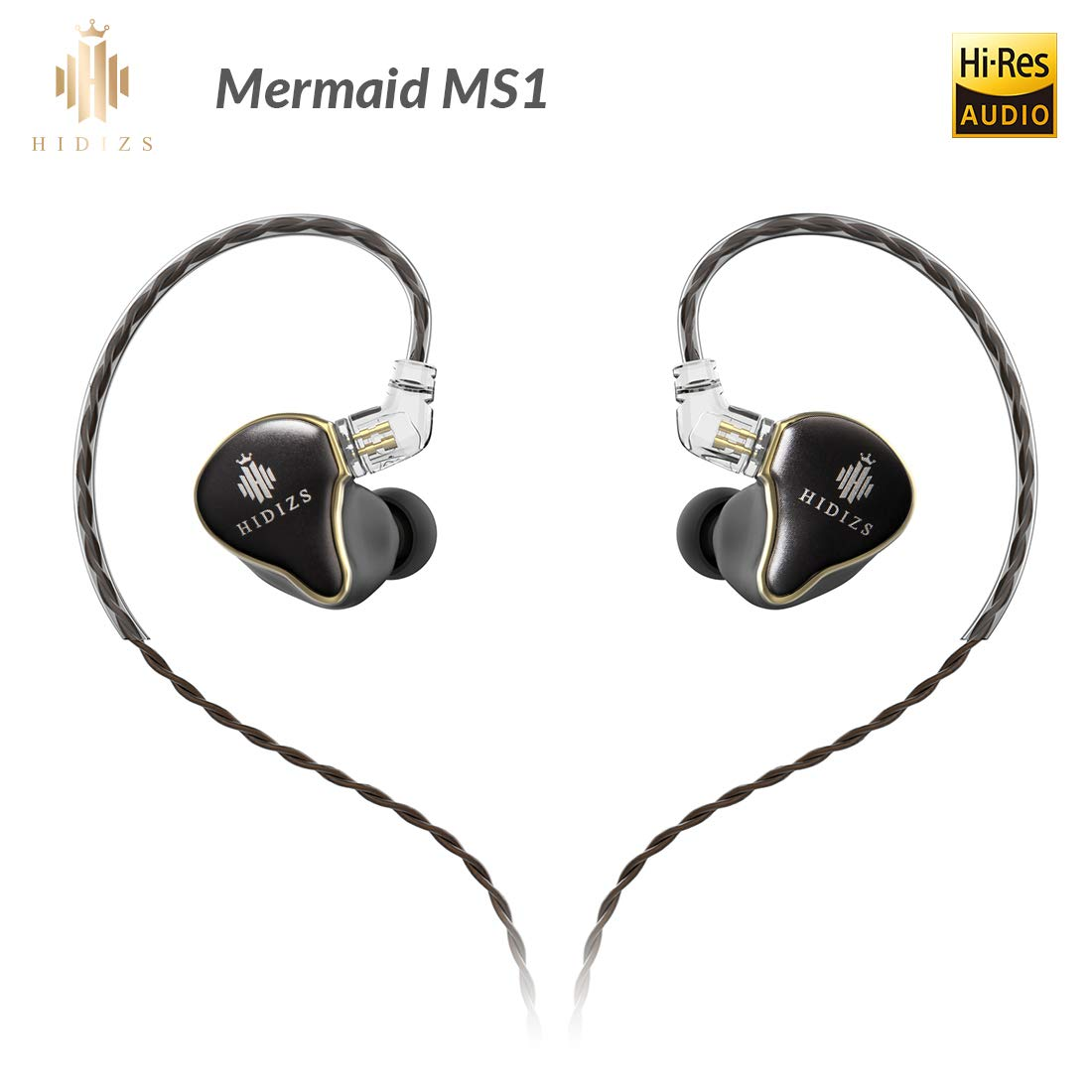 HIDIZS MS1 in-Ear Monitor Headphones, Hi Res Headphones Wired Audiophile, Dynamic Diaphragm Hi-Fi IEM Earphones with Detachable Cable (Black)
