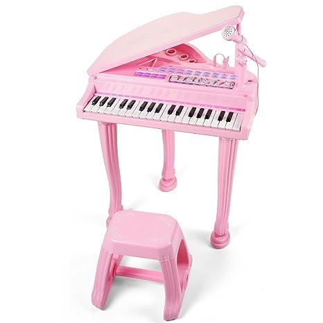 Joli Juguete educativo Little Pink Piano para niñas con micrófono Teclado electrónico de música para órgano