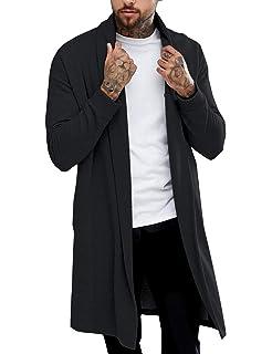 e5be884d9df Pacinoble Men s Shawl Longline Cardigan Draped Lightweight Open Front  Cotton Long Length Ruffle Shawl Coat