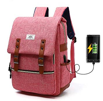 GJX Men And Women Canvas Backpack USB Charging Leisure Outdoor Bag Canvas  Backpack (Color   687f7d1536e65