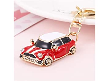 1f21a2ad44 Zhisan Fashion and Cute Cartoon Car with Diamond Alloy Keychain Handbag Pendant  Car Keyring Souvenir Gift