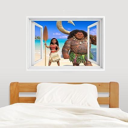 Moana y Maui adhesivo decorativo para pared de dormitorio infantil decoración mural 80 x 56 cm