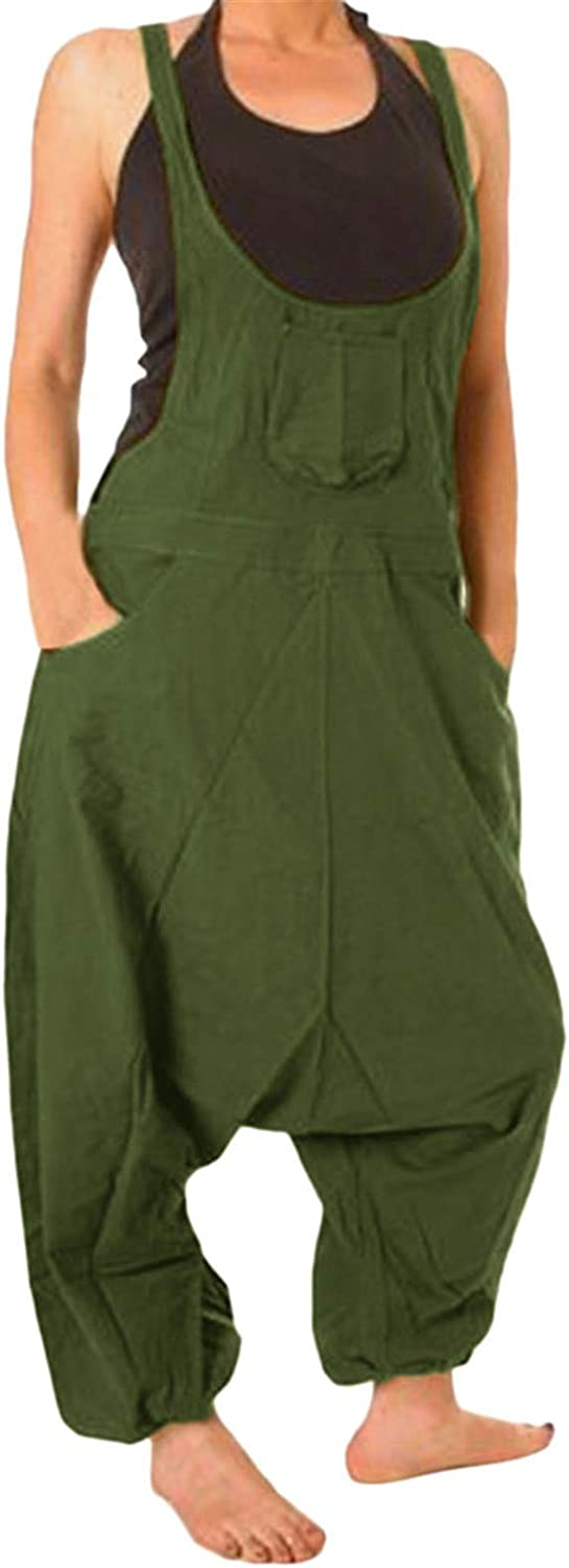 Thenxin Womens Baggy Bib Overalls Harem Pants with Pockets Plus Size Rompers Jumpsuit Dungarees
