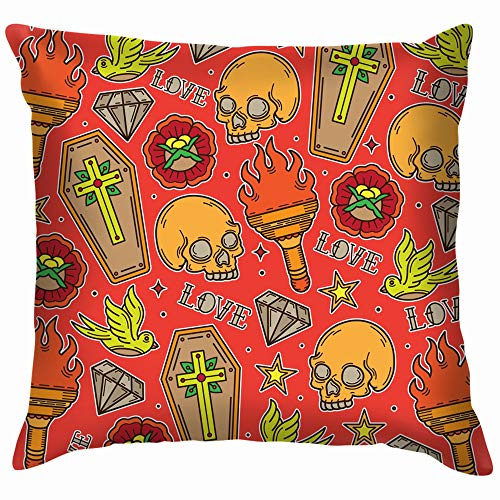 Cute Skull Tattoo Eps Art Cotton Linen Home Decorative Throw Pillow Case Cushion Cover for Sofa Couch 26X26 Inch