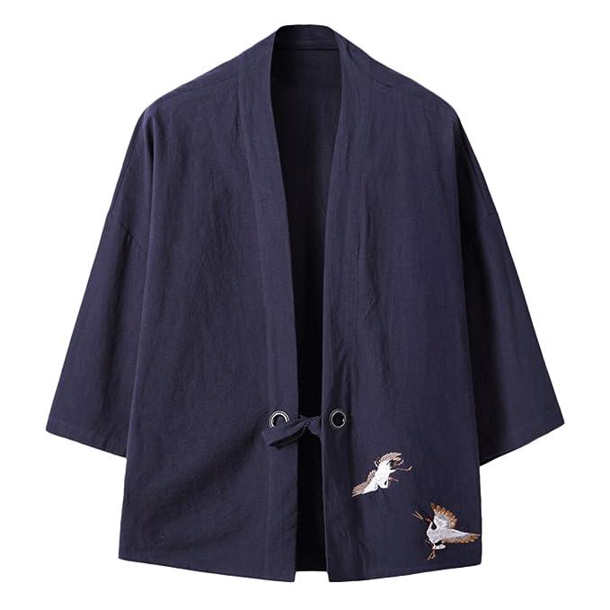 Zhuhaitf Kimono Japón Abrigo manga 3/4 para hombre Traje de traje de pijamas Kimono