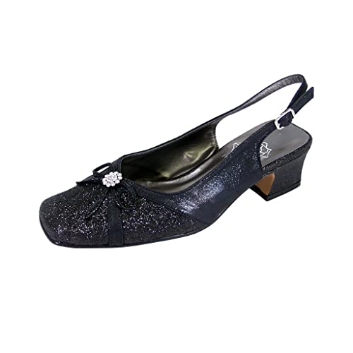 aec87b135cd Floral Gemma Women Extra Wide Width Dress Slingback Black 7
