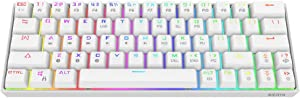 DIERYA 60% Mechanical Gaming Keyboard - White Bluetooth 4.0 Wired/Wireless True RGB Backlit Compact 63 Key Computer Keyboard - Full Keys Programmable - Brown Switch (DK-63-W)
