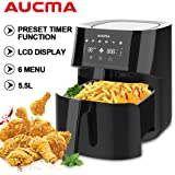 Electric Air Fryer with 5.5L Large Capacity Oil-Less Low Fat Automatic Oven Cooker with Digital Touch Display Non-Stick Coating Easy to Clean Black