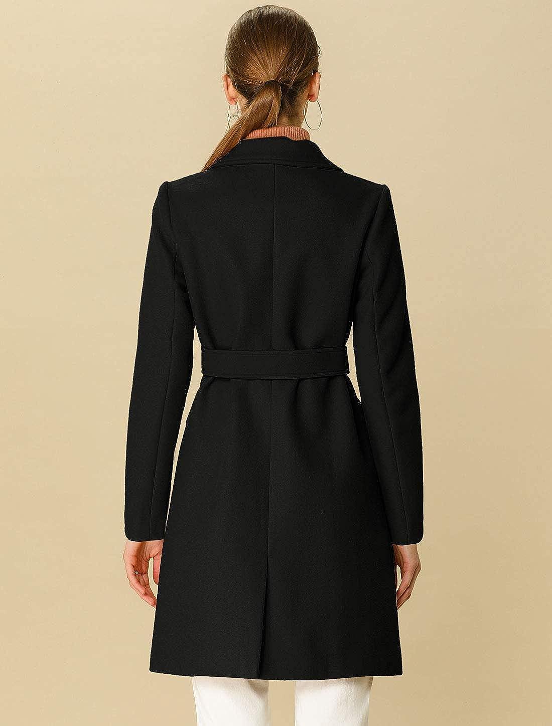 Allegra K Womens Notch Lapel Double Breasted Belted Mid Long Outwear Winter Coat