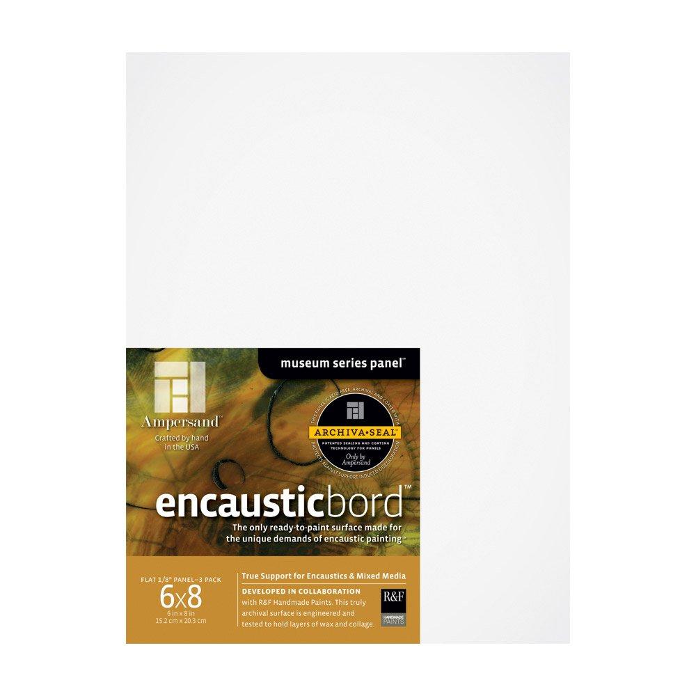 Ampersand Encausticbord Hardboard Panel for Encaustics and Mixed Media, 1/8 Inch Depth, 6X8 Inch, Pack of 3 (EN0608)