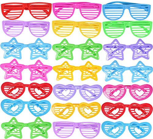 Max Fun 48 Pack Assorted Colors Plastic Shutter Shades Glasses for Kids 80s Party Favors Party Props