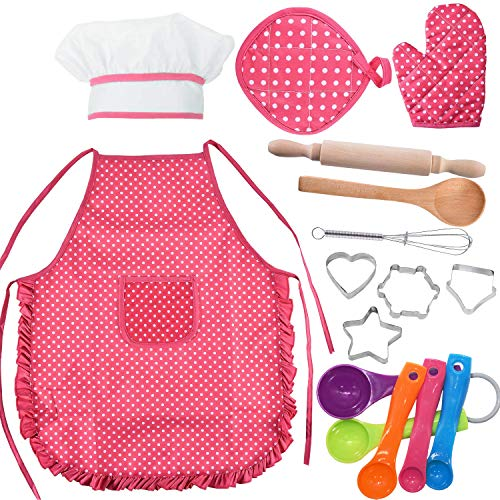 Yeeher Kids Chef Role Play Costume Set 16 PCS, Chef Hat Toddler Cooking and Baking Set Toddler, Cooking Utensils, Kids Aprons for Girls and Kids Ages 3+ (Red) -