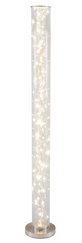 lifestyle4living Stehlampe, Stehleuchte, Standleuchte, Standlampe, Bodenlampe, Wohnzimmerlampe, Lampe, Leuchte, Nickel, Glas, LED