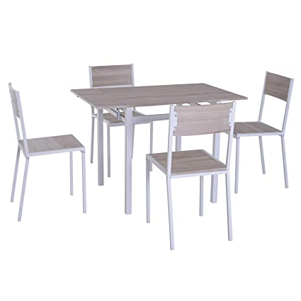 Amazon Com Homcom 5 Piece Expanding Drop Leaf Dining Table And