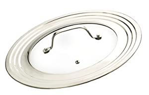 RSVP Endurance Stainless Steel Universal Lid with Glass Insert, 9-Inch