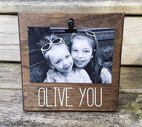 OLIVE YOU Picture Frame gift! Gift for dad, photo board, picture with clip, gift for grandpa, grandma