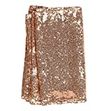 Ling's moment Sparkly Sequin Table Runner Rose Gold 12 x 108 Inch (Hem Edge) for Wedding Engagement Party Bridal Baby Shower Dresser Decorations