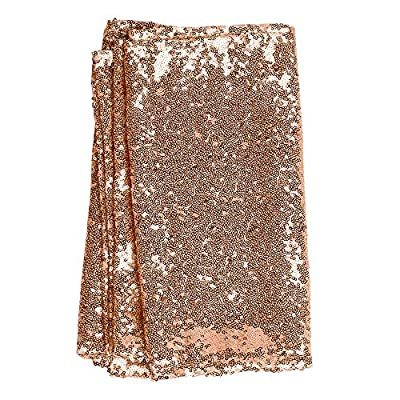 Ling's moment Sparkly Sequin Table Runner Rose Gold 12 x 108 Inch (Hem Edge) for Wedding Engagement Party Bridal Baby Shower Dresser Decorations - MATERIAL: 3mm shinny sequins, higher density, hem edges, mesh fabric backing. PACKAGE: You get one gold sequin table runner 12 x 108 Inch, perfect size for 6ft tables. EASY CARE: For best results, hand wash and hang to dry.Dry clean recommended. - table-runners, kitchen-dining-room-table-linens, kitchen-dining-room - 61EWGbwPJ9L. SS400  -