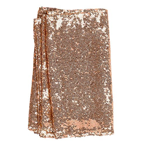 Champagne Party Favors (Ling's moment 12 x 108 Inch Sparkly Rose Gold Sequin Table Runner (Hem Edge) for Wedding Party Bridal Shower Baby Shower Christmas)