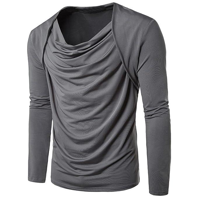 Yvelands Súper Moda Personalidad de Algodón de Los Hombres Casual Plisado de Manga Larga Top Blusa Abrigo Chaqueta Outwear Suéter, Liquidación Barato!: