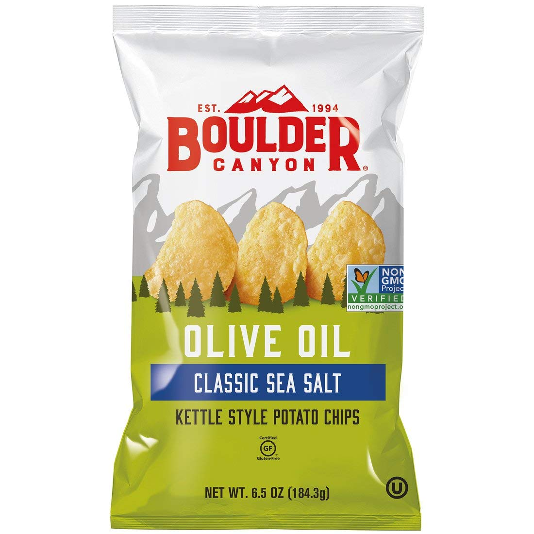 Boulder Canyon Kettle Cooked Potato Chips,6.5 Ounce Bag (Pack of 12)
