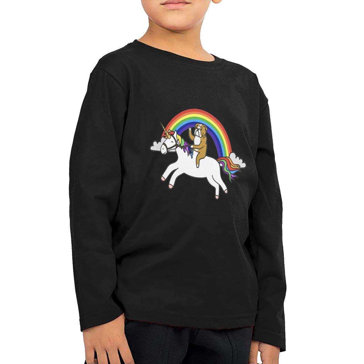Bulldog Riding Unicorn Childrens Long Sleeve T-Shirt Boys Girls Cotton Tee Tops