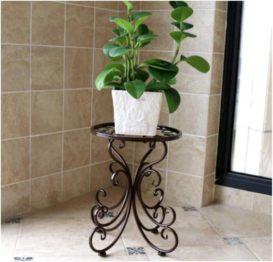 CXD Maceteros de pie de Estilo Europeo, balcón de Hierro Forjado, balcón, Varias Plantas, Sala de Estar (Color : Brown)