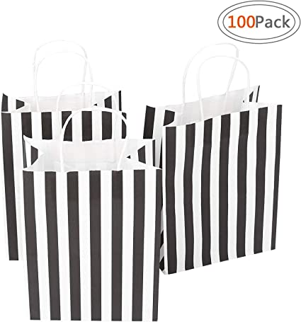 Bag, Retail bag Road 5.25x3.25x8 Inches 50pcs Black Stripes Kraft Paper Bags