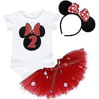 Jurebecia Bebé Niñas Es mi Primer/Segundo cumpleaños Trajes Conjuntos Princesa Vestido Tutu 3 Piezas Mameluco + Falda…