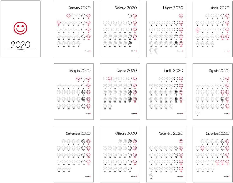 Calendario 2020 con lo smile felice nei giorni di festa e triste i giorni di lavoro