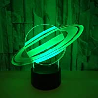 3D Nachtlampje Planeet Saturnus Nachtlampje USB Touch LED Tafellamp 7 Kleur Veranderende Winkel Bar Slaapkamer…