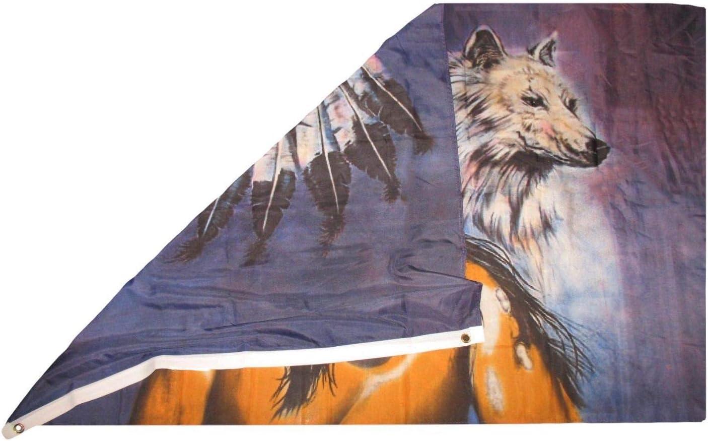 Amazon.com: 3 x 5 indio nativo americano con Wolf Rough Tex ...