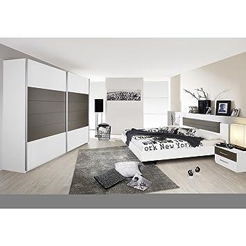 Wunderbar Rauch Schlafzimmer Komplett Weiß, Schlafzimmer Set Mit Schwebetürenschrank,  Bett, Nachtkommoden, Absetzungen Lavagrau